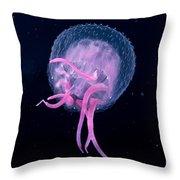 Pink Jellyfish Throw Pillow