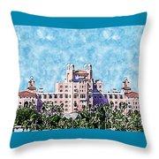 Pink Lady Don Cesar Watercolor Throw Pillow