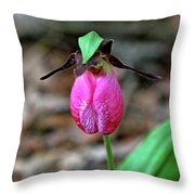 Pink Lady Slipper #2 Throw Pillow