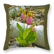 Pink Lady Slipper Throw Pillow