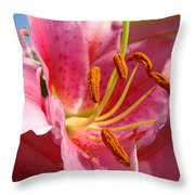 Pink Lilies Art Prints Lily Flowers 3 Giclee Artwork Baslee Troutman  Throw Pillow
