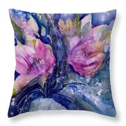 Pink Lilies In Vase Throw Pillow