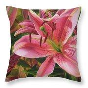 Pink Liliums Throw Pillow
