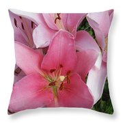 Pink Lillies 1 Throw Pillow