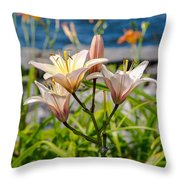 Pink Lily By The Lake Throw Pillow