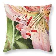 Pink Lily Close Up Throw Pillow