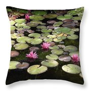 Pink Lily Pads Throw Pillow