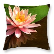 Pink Lily Reflection 4 Throw Pillow