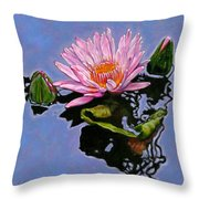 Pink Lily With Dancing Reflections Throw Pillow