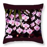 Pink Little Orchids Throw Pillow