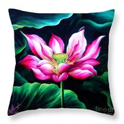 Pink Lotus From L.a. City Park Throw Pillow