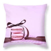 Pink Macarons Tied With Ribbon  Throw Pillow
