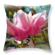 Pink Magnolia Blossoms Throw Pillow