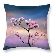 Pink Magnolia - Bright Version Throw Pillow