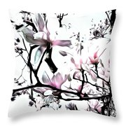 Pink Magnolia - In Black And White  Throw Pillow