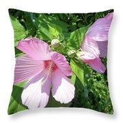 Pink Marsh Mallow Wildflower Throw Pillow