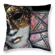 Pink Mask Throw Pillow