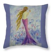 Pink Mermaid In Her Garden Throw Pillow