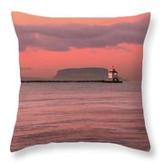 Pink Morning In The Bay Of Thunder Throw Pillow
