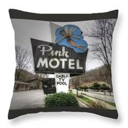 Pink Motel Sign Maggie Valley North Carolina Throw Pillow