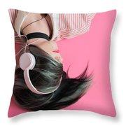 Pink Music Time Throw Pillow