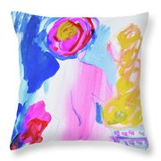 Pink Nude With Headwrap Throw Pillow