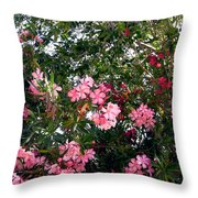 Pink Oleanders Throw Pillow
