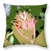 Pink On Green Work Number 6 Throw Pillow