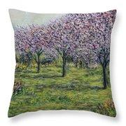 Pink Orchards Garden Throw Pillow