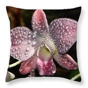 Pink Orchid And Dewdrops 013 Throw Pillow