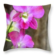 Pink Orchid Duo Throw Pillow