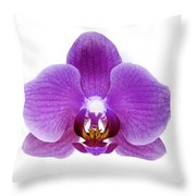 Pink Orchid On White Throw Pillow