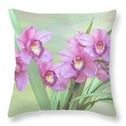 Pink Orchid Photo Sketch Throw Pillow