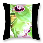 Pink Orchid With Green 1 Throw Pillow