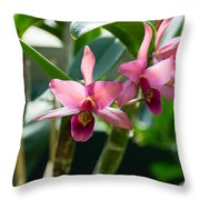 Pink Orchids - Exotic Tropical Glow Throw Pillow