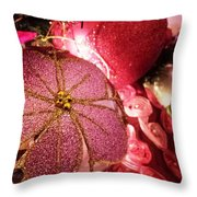 Pink Ornaments Holiday Card Throw Pillow