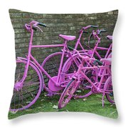 Pink Painted Bikes And Old Wall Throw Pillow