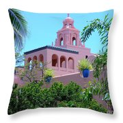 Pink Palace Honolulu Throw Pillow