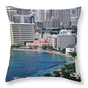 Pink Palace Waikiki Honolulu Throw Pillow