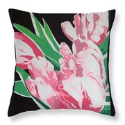 Pink Parrots Throw Pillow