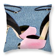 Pink Patent Leather With Sculpted Metal Heels Throw Pillow