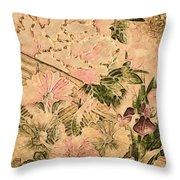 Pink Peonies - Kimono Series Throw Pillow