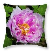 Pink Peony Blossom Throw Pillow