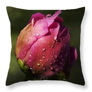 Pink Peony Bud With Dew Drops Throw Pillow