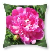 Pink Peony On Green Throw Pillow