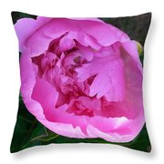 Pink Peoony In Bloom Throw Pillow