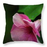 Pink Petals In The Rain Throw Pillow