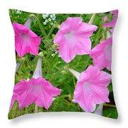 Pink Petunia Flower 9 Throw Pillow