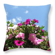 Pink Petunias In The Sky Throw Pillow