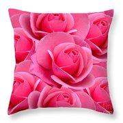 Pink Pink Roses Throw Pillow